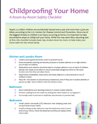 Child Proofing Your Home Checklist
