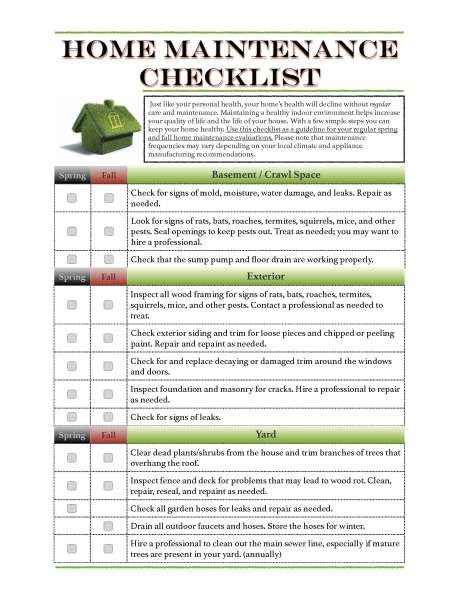 Home Maintenance Checklist_Page_1